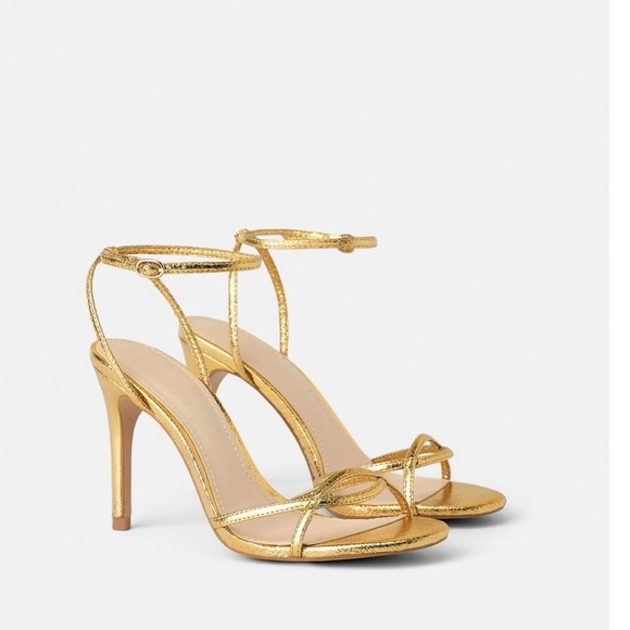 Zara HEELED SANDALS W/ THIN STRAPS Gold Size 6.5